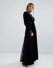 Frock And Frill | Бархатное платье макси с тиснением и кружевными вставками Frock and Fr | Clouty