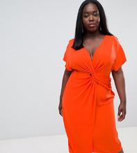 ASOS   Платье миди с рукавами-кимоно ASOS DESIGN Curve - Красный   Clouty