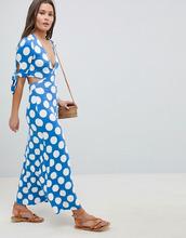 ASOS   Чайное платье в горошек с запахом и бантиками на рукавах ASOS DESIGN - Мульти   Clouty