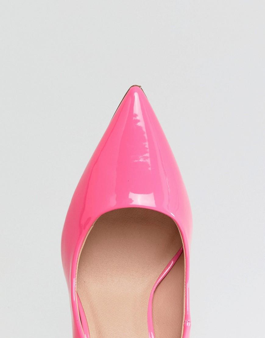 New Look | Лакированные туфли-лодочки на высоком каблуке с заостренным носком New Look - Розовый | Clouty