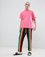 ASOS | Прямые пижамные брюки в разноцветную полоску ASOS DESIGN - Черный | Clouty