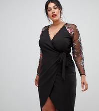 Little Mistress | Платье-футляр с вышивкой на рукавах Little Mistress Plus - Черный | Clouty