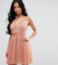 ASOS   Платье мини на бретелях с глубоким вырезом и плиссировкой ASOS PETITE - Розовый   Clouty