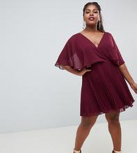 ASOS | Платье мини с плиссированной юбкой и расклешенными рукавами ASOS DESIGN Curve - Фиолетовый | Clouty