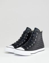 CONVERSE | Черные высокие кожаные кроссовки с заклепками Converse Chuck Taylor All Star - Черный | Clouty