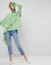 ASOS | Топ из крепа с каскадной оборкой ASOS WHITE - Зеленый | Clouty