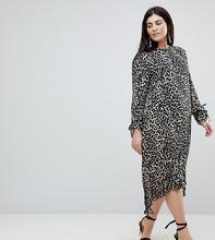 ASOS   Платье миди с баской и леопардовым принтом ASOS CURVE - Мульти   Clouty
