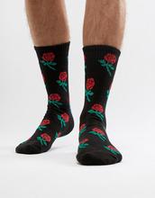 Pull & Bear | Носки с розами Pull&Bear - Черный | Clouty