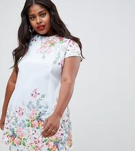 ASOS | Платье мини А-силуэта с цветочным принтом ASOS DESIGN Curve - Мульти | Clouty
