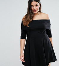 ASOS | Короткое приталенное платье с рукавами длиной 3/4 ASOS DESIGN Curve - Черный | Clouty