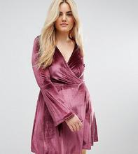 Club L   Короткое приталенное платье с рукавами клеш Club L Plus - Розовый   Clouty