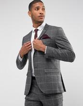Selected Homme | Узкий пиджак в клетку Selected Homme - Серый | Clouty