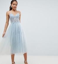 ASOS   Платье миди с кружевным лифом ASOS DESIGN Tall - Синий   Clouty