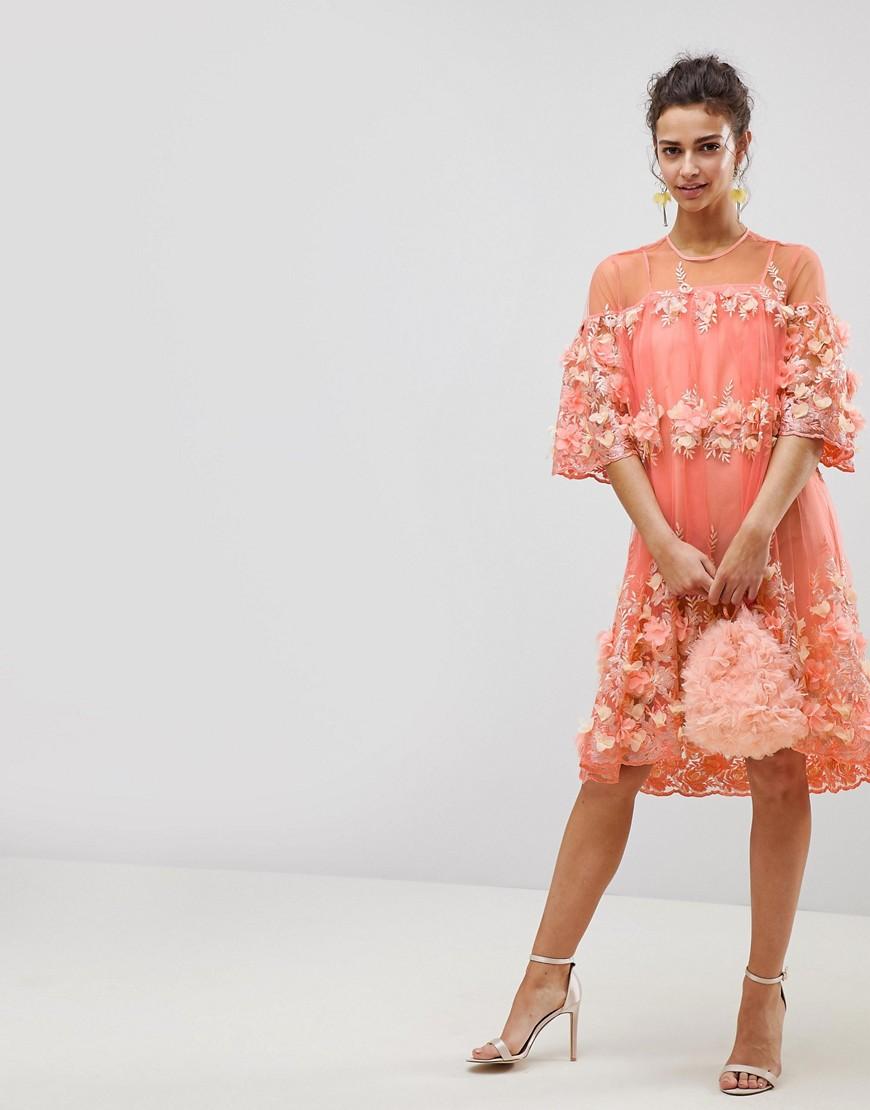 ASOS | Платье-трапеция миди ASOS EDITION - Мульти | Clouty