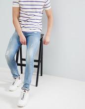 ASOS   Синие выбеленные джинсы скинни с потертостями ASOS DESIGN - Синий   Clouty