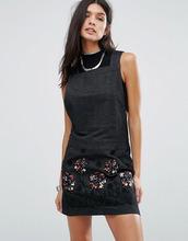 Anna Sui | Джинсовое платье с аппликацией Anna Sui Pansy - Черный | Clouty