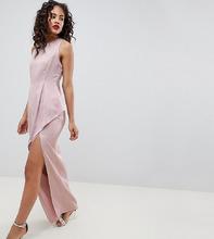 ASOS   Атласное платье макси с асимметричной ярусной юбкой ASOS DESIGN Tall   Clouty
