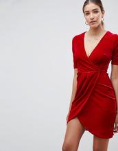 Club L | Бархатное платье с запахом Club L - Красный | Clouty