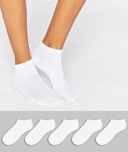 ASOS | 5 пар спортивных носков ASOS DESIGN - Белый | Clouty