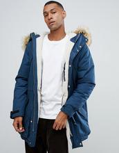 Hunter | Темно-синяя парка с мехом на капюшоне и съемной флисовой подкладкой Hunter Original - Темно-синий | Clouty
