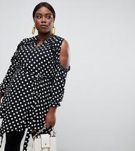 River Island | Платье в горошек с открытыми плечами и оборками River Island Plus - Черный | Clouty