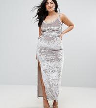 Club L | Бархатное платье макси на бретельках Club L Plus - Серебряный | Clouty