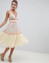 ASOS | Кружевное платье миди для выпускного в стиле колор блок ASOS DESIGN | Clouty