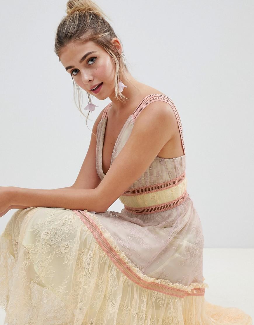 ASOS | Мульти Кружевное платье миди для выпускного в стиле колор блок ASOS DESIGN | Clouty