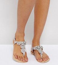 ASOS | Кожаные сандалии для широкой стопы с отделкой ASOS FENDER - Серебряный | Clouty