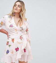 ASOS   Платье мини с запахом и вышивкой ASOS DESIGN Curve - Мульти   Clouty