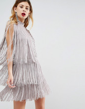 ASOS | Платье мини с бахромой ASOS DESIGN - Серый | Clouty