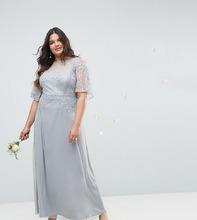 ASOS | Платье макси с рукавами клеш, кружевом и отделкой ASOS DESIGN Curve Bridesmaid - Серый | Clouty