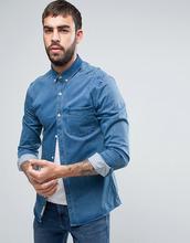 River Island | Выбеленная обтягивающая джинсовая рубашка River Island - Синий | Clouty