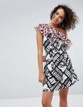 ASOS | Платье с оборками на одно плечо и звериным принтом ASOS x MTV - Мульти | Clouty