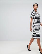 ASOS | Платье миди в полоску с карманами ASOS DESIGN - Мульти | Clouty