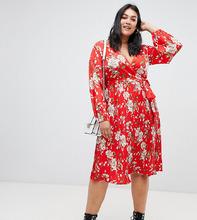 Influence | Платье с плиссированной юбкой и поясом Influence Plus - Красный | Clouty