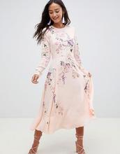 ASOS | Платье миди с цветочным принтом и вышивкой птиц ASOS DESIGN - Мульти | Clouty