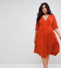 ASOS   Платье-кимоно с плиссировкой ASOS CURVE - Оранжевый   Clouty