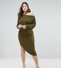 Club L | Асимметричное платье с запахом Club L Plus - Зеленый | Clouty