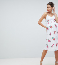 Little Mistress | Приталенное платье с вышитыми розами Little Mistress Maternity - Мульти | Clouty