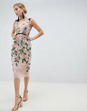 ASOS | Платье-футляр миди с цветочной вышивкой ASOS DESIGN - Мульти | Clouty