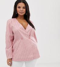Fashion Union | Комбинируемый свободный блейзер в полоску Fashion Union Plus - Розовый | Clouty