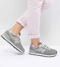 New Balance | Серые замшевые кроссовки New Balance 574 - Серый | Clouty