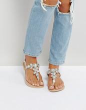 ASOS | Кожаные сандалии с отделкой ASOS FAIRGROUND - Серебряный | Clouty