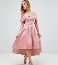 ASOS | Асимметричное платье миди для выпускного с открытыми плечами ASOS PETI | Clouty