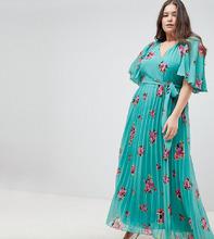 ASOS | Плиссированное платье макси с расклешенными рукавами и цветочным принтом ASOS DESIGN Curve - Мульти | Clouty