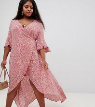 Glamorous | Платье с запахом и принтом вишни Glamorous Curve - Оранжевый | Clouty