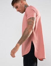 ASOS   Розовая удлиненная футболка с асимметричным краем ASOS DESIGN   Clouty