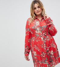 Club L | Платье-рубашка с принтом на воротнике Club L Plus - Мульти | Clouty