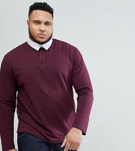 ASOS | Бордовая футболка-поло регби свободного кроя с длинными рукавами ASOS | Clouty